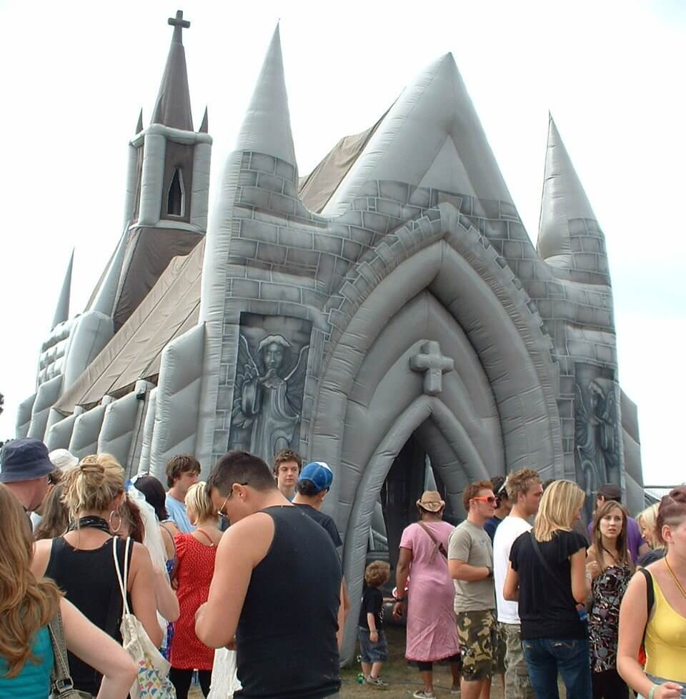 Getting married in the church at Bestival