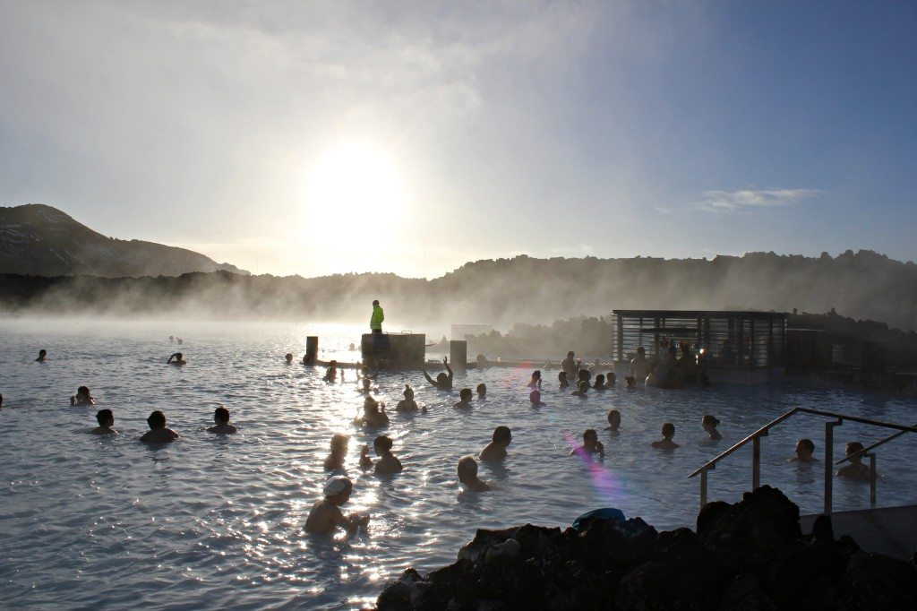Relaxing in the Blue Lagoon in Reykjavik