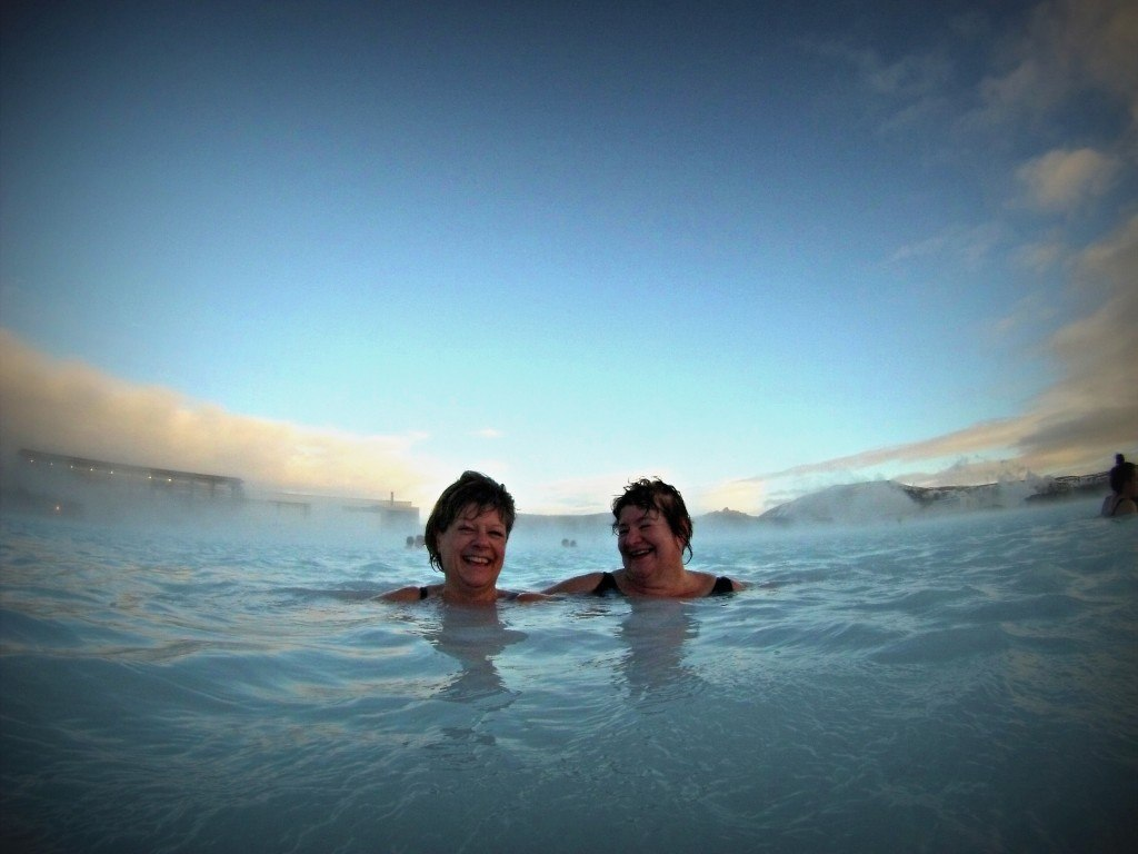 mum and auntie penny at the blue lagoon