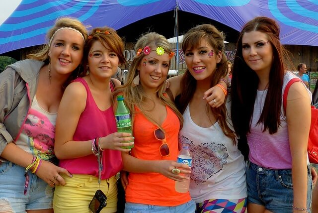 Girls chilling at a festival