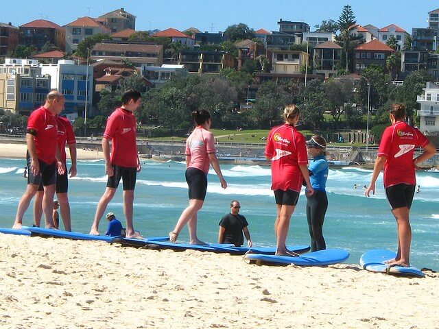 Surfing on Bondi Beach