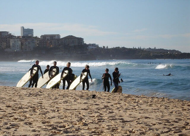 Learning to surf on Bondi Beach