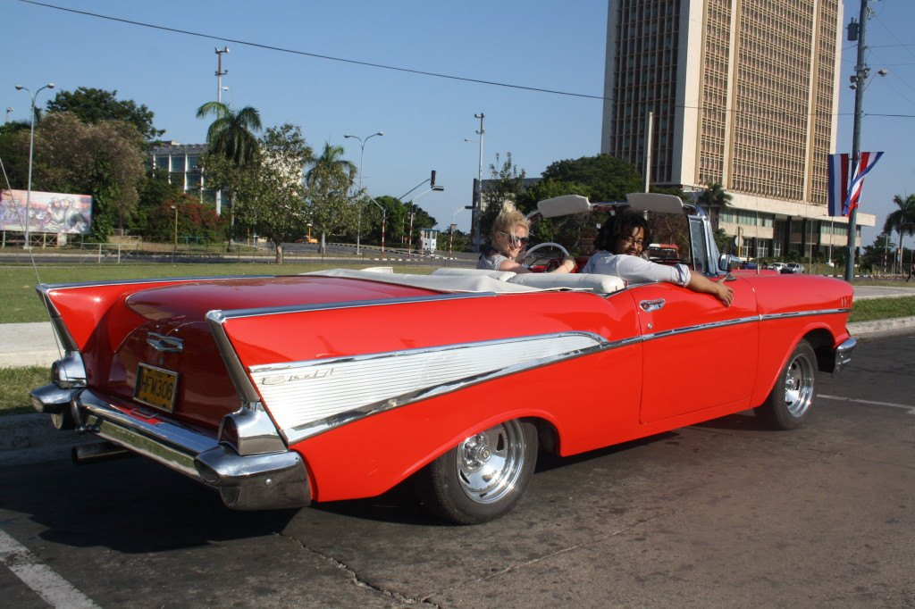 me and waiel in a car in cuba