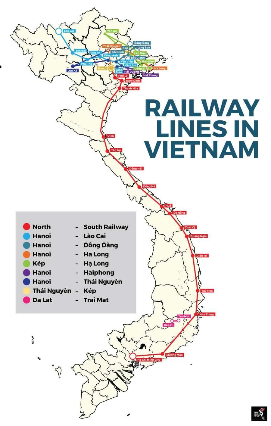 Railway lines in Vietnam