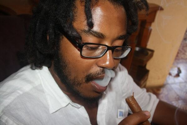 Waiel smoking in Trinidad