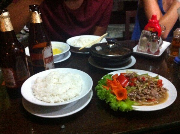 beef strips and rice Hanoi
