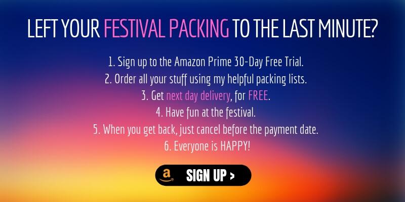 Packing list for festivals