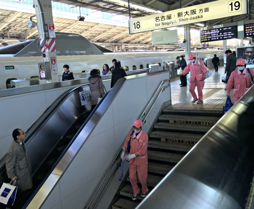Clean staff for the trains in Crazy Japan