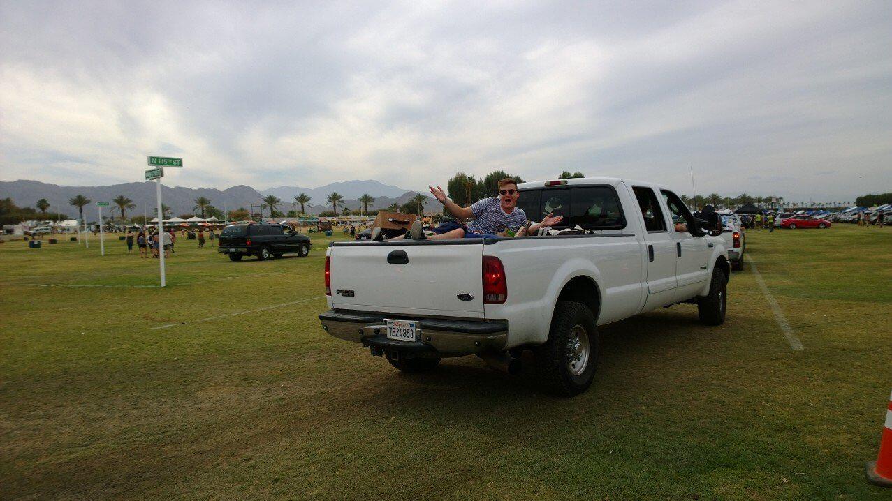Boy in the car at Coachella