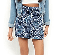 Blue Tile Print Shorts