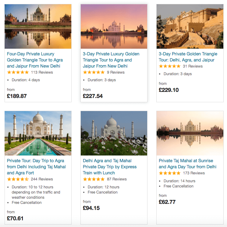 Tours to see the Taj Mahal