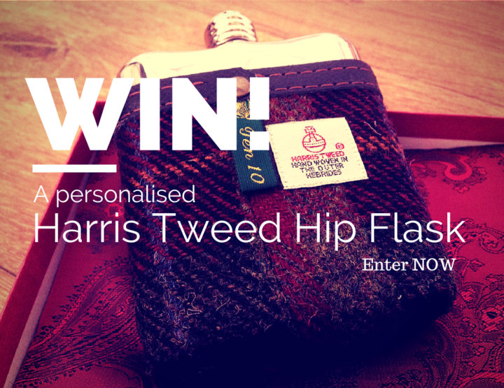 Win a Fancy Personalised Harris Tweed SWIG Hip Flask!