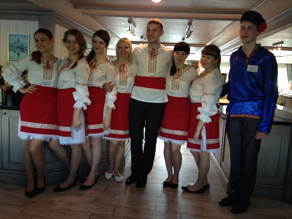 The waiting staff on gvidon cruise