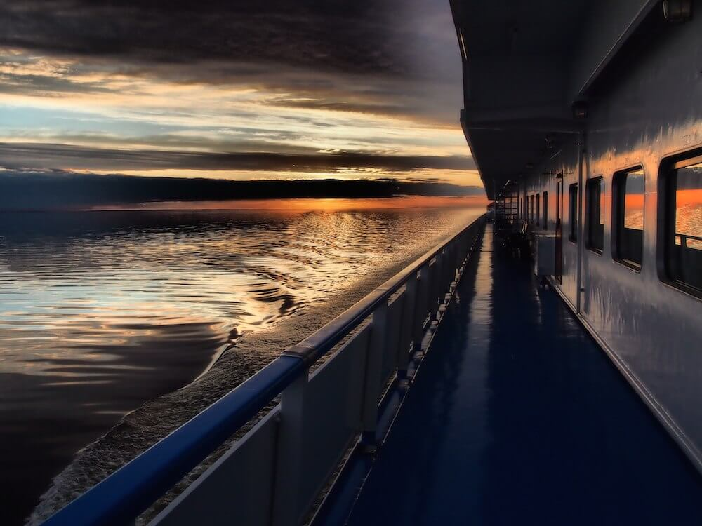 View of the sunset from the boat