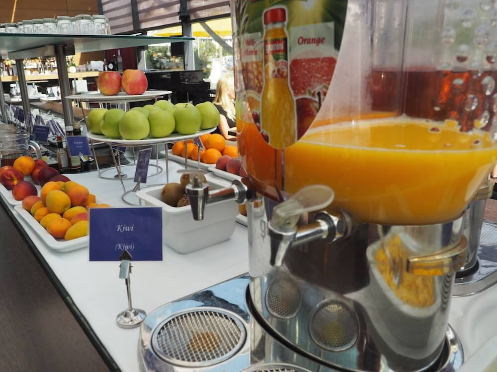 Fruit juices at breakfast
