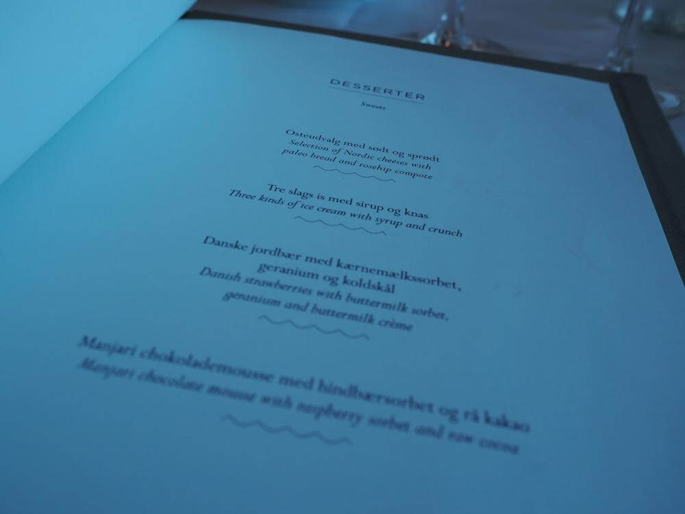 Menu at the Kurhotel Skodsborg