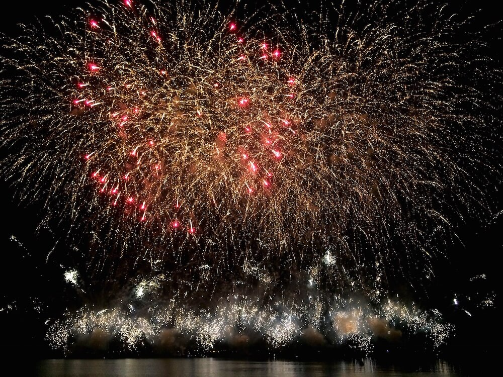 Fireworks over the lake in Bardolino