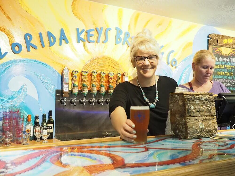 Serving beer in Florida Keys