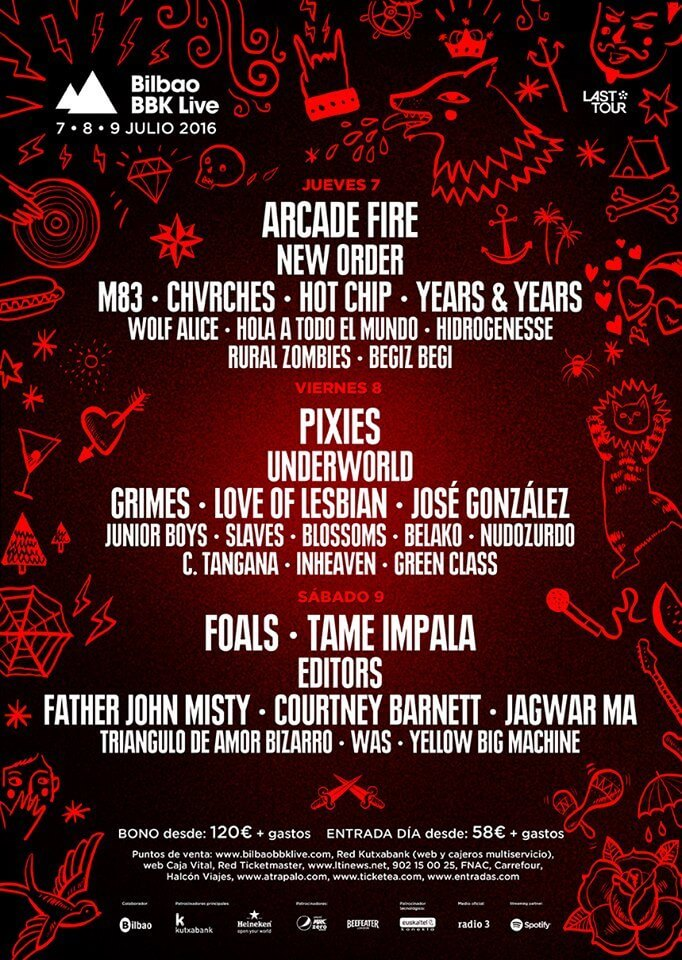 Line up for 2016 Bilbao BBK