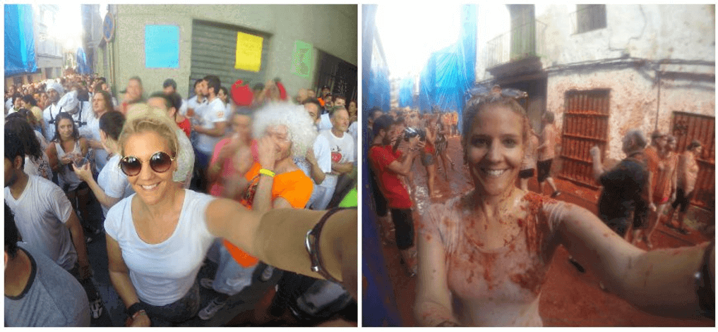 Before and after at Tomatina Festival