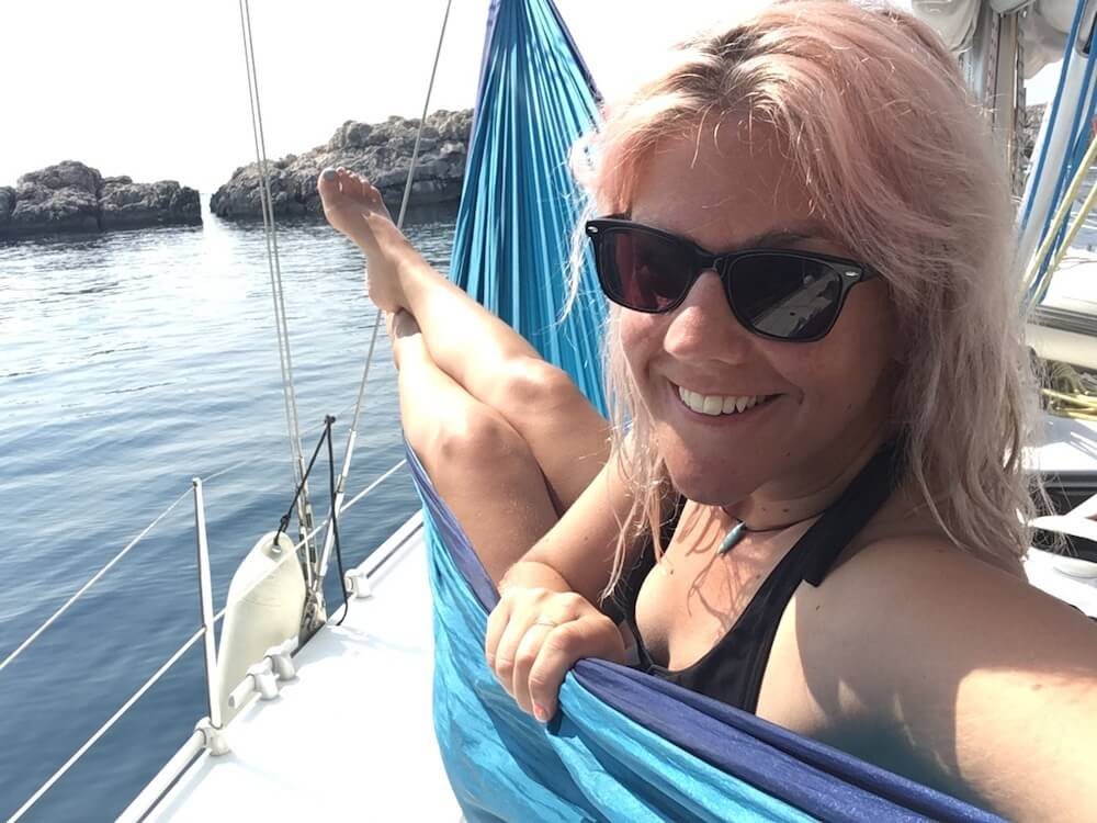 Me in a hammock on the boat