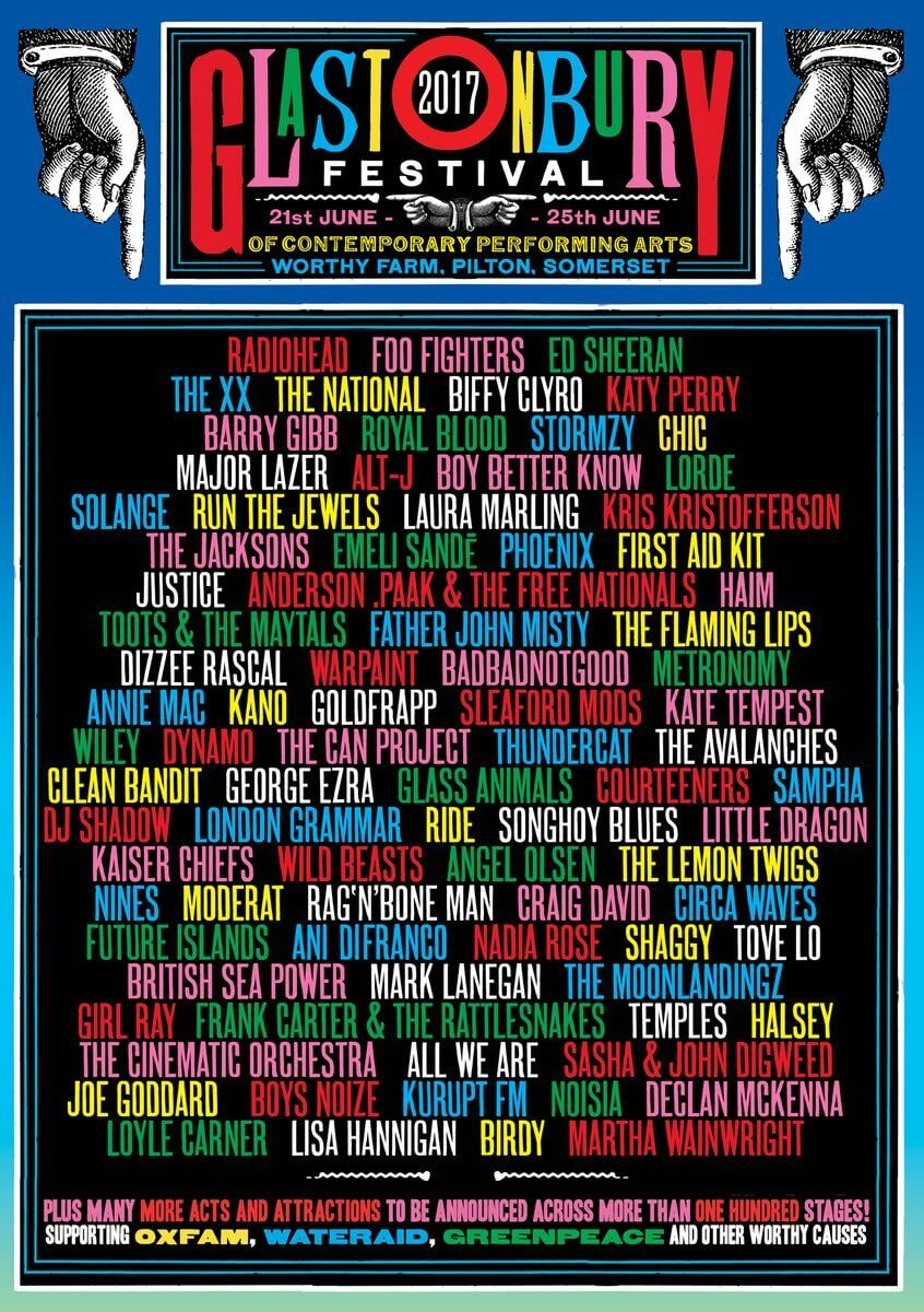 Line up for Glastonbury Festival