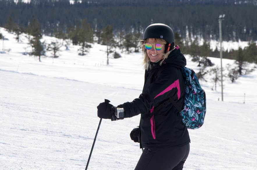 Ski instructor backpacking