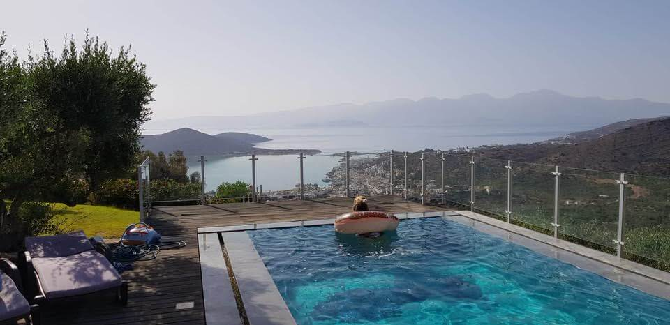 Relaxing in the pool in Elounda on a crete holiday