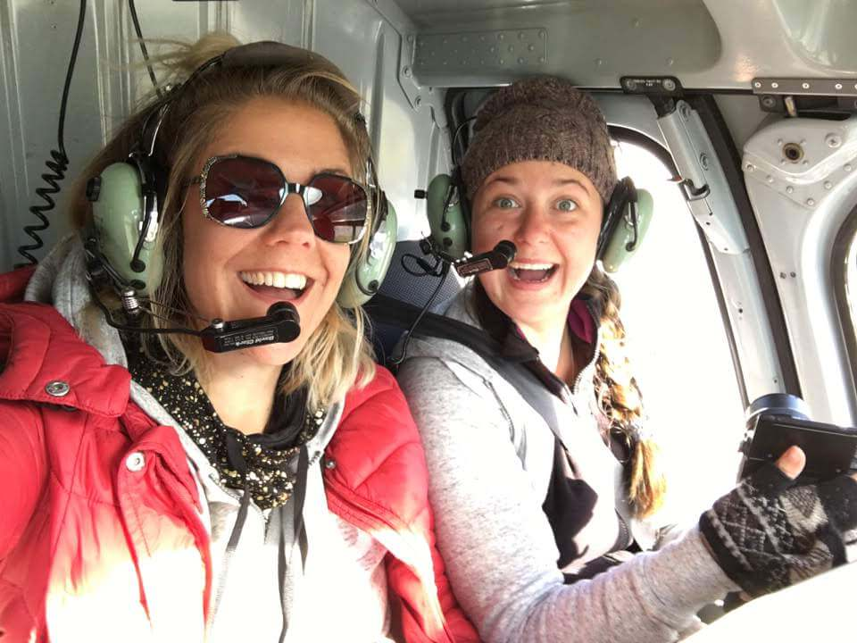 Flying in a helicopter in canada