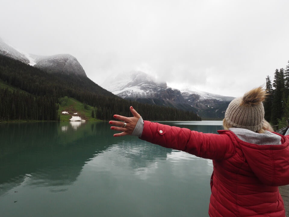 Looking out over Emerald Lake