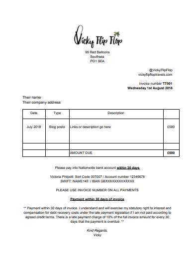 Travel bloggers invoice