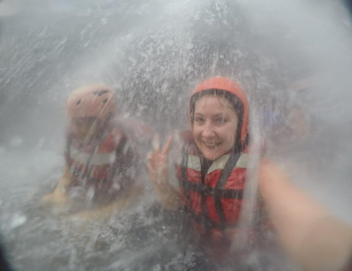 Going Under the Spray at Victoria Falls, Zambia