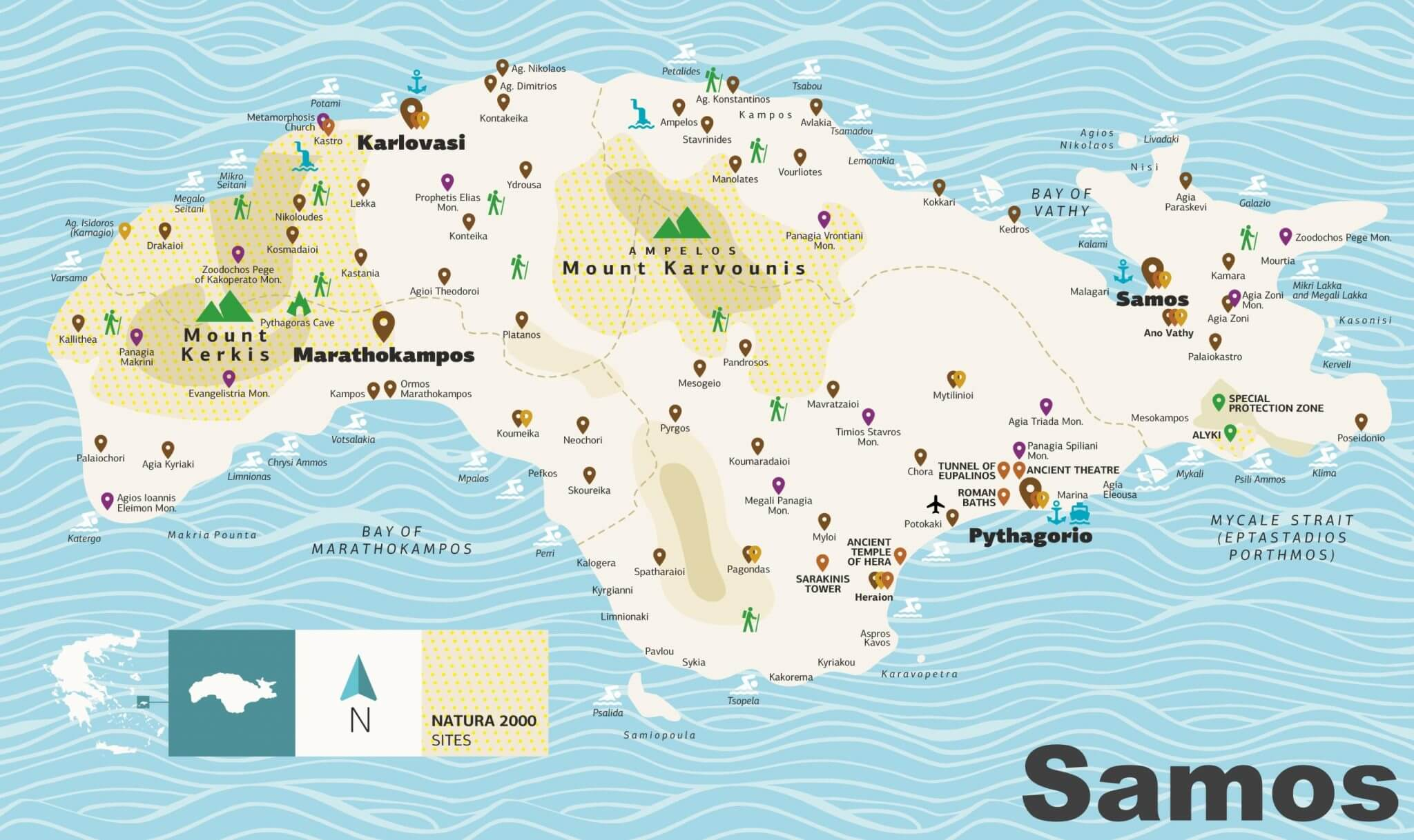 samos map in greece