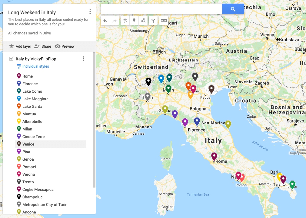 Map of the best spots in Italy