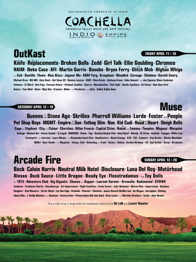 Line up for Coachella