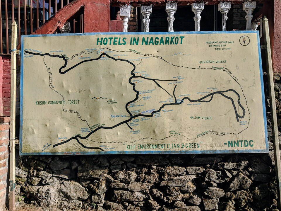 Map of the hotels in Nagarkot
