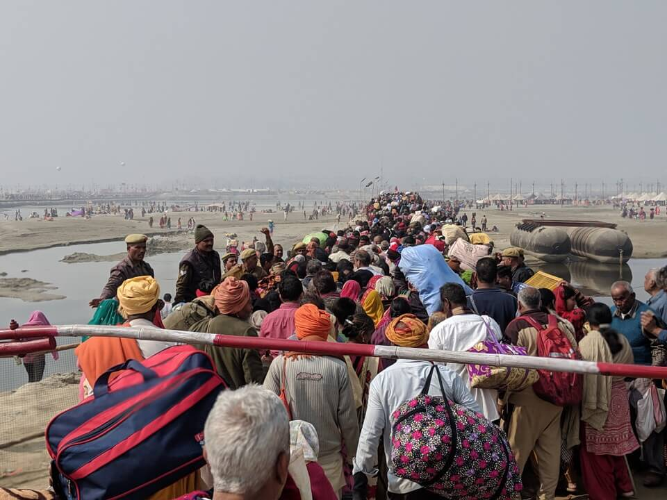 Over the bridge at the Kumbh mela