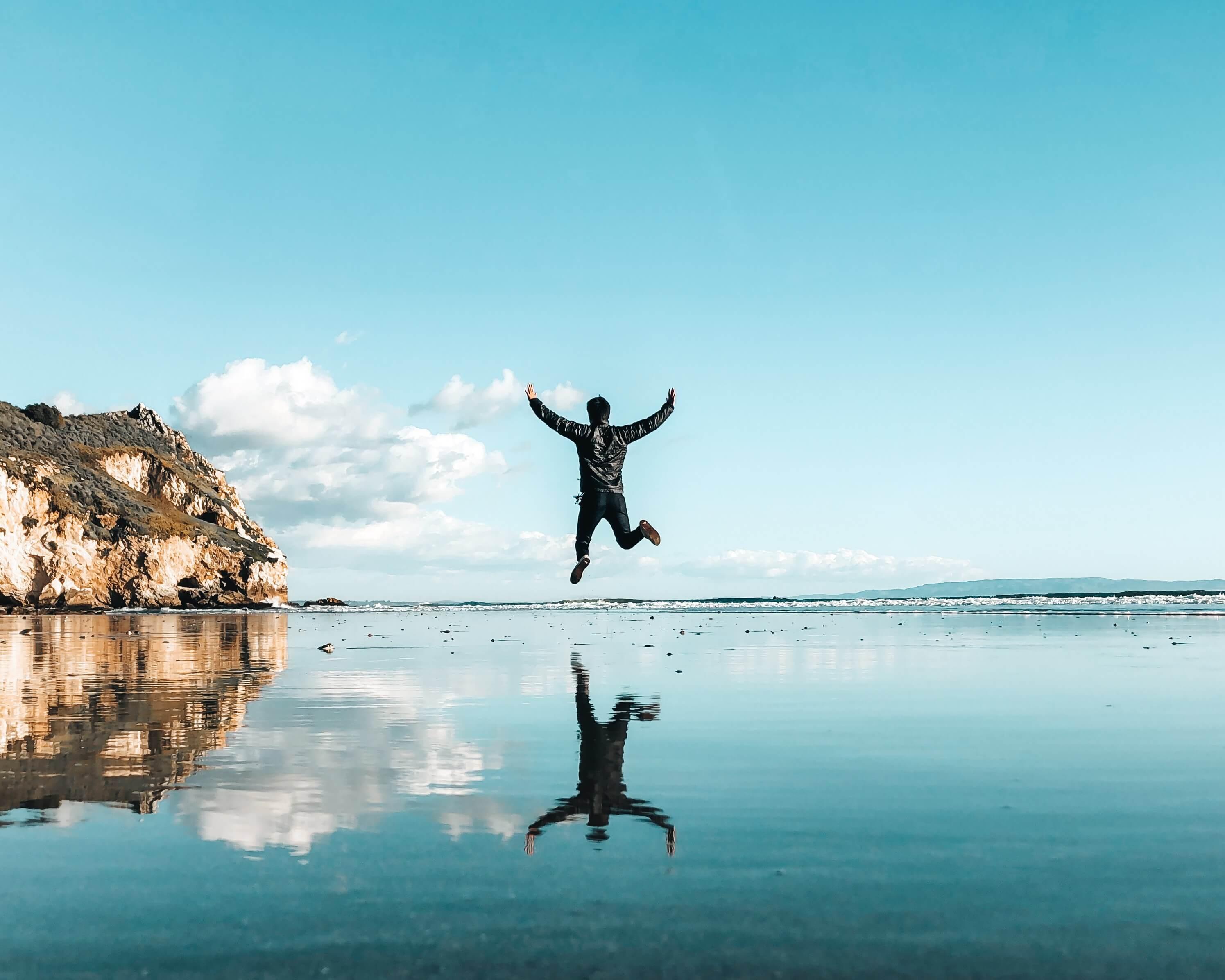 man jumping in san luis obispo