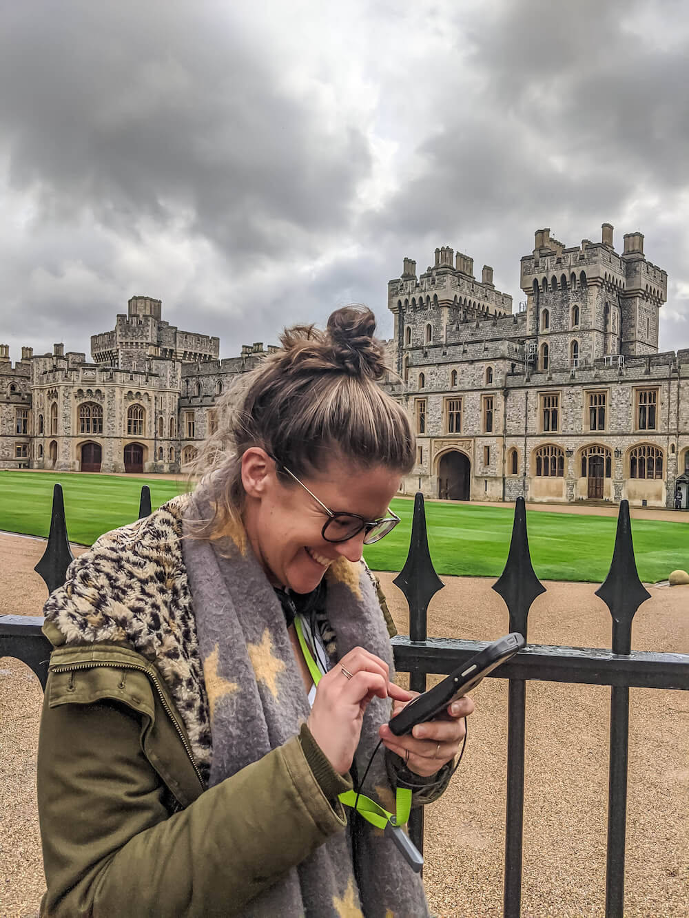 Playing with the audio guide at Windsor Castle