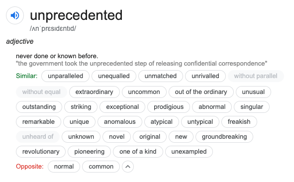 Unprecedented synonyms