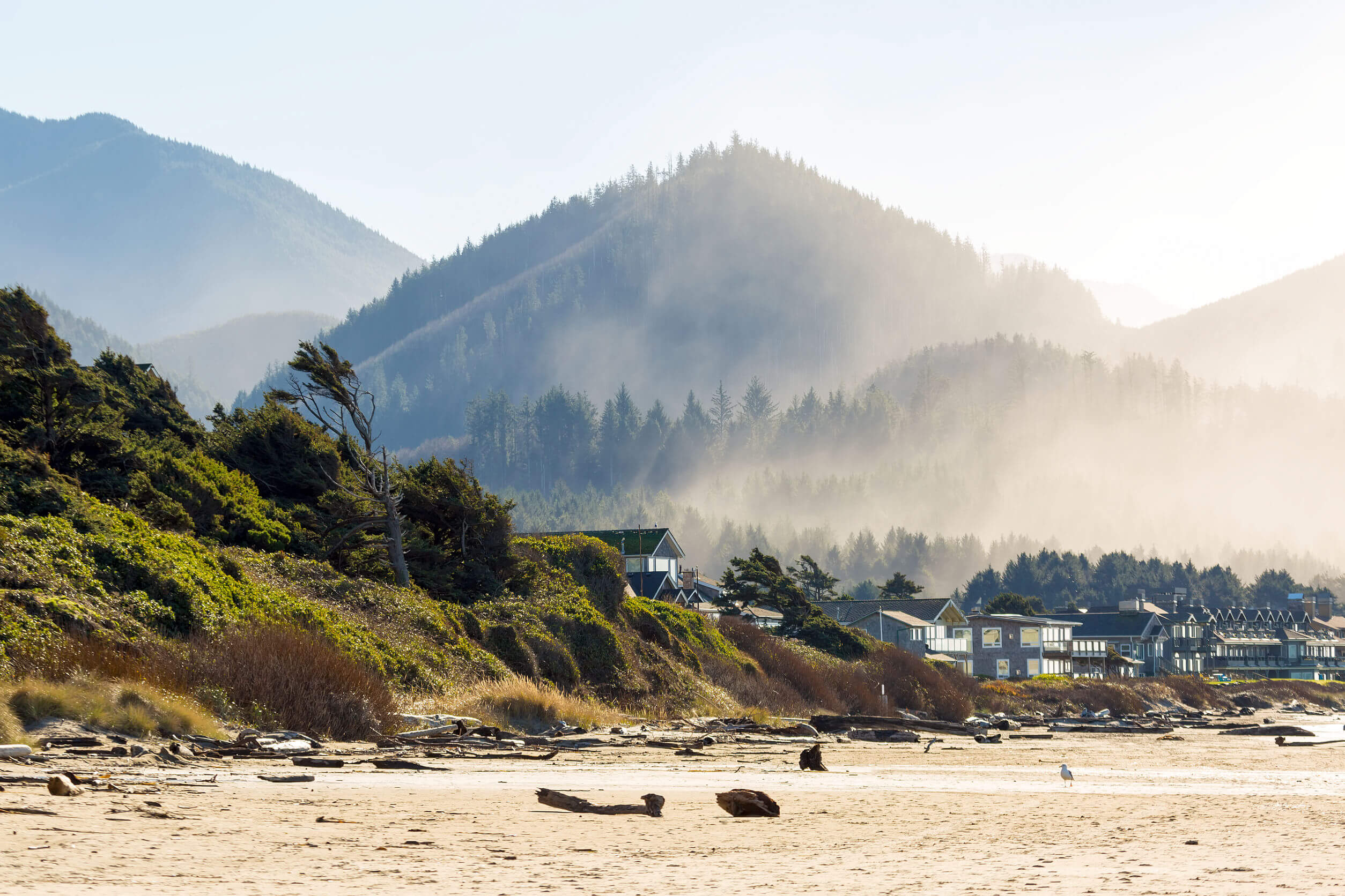 Oceanfront vacation homes along Cannon Beach Oregon Coast by Pacific Ocean