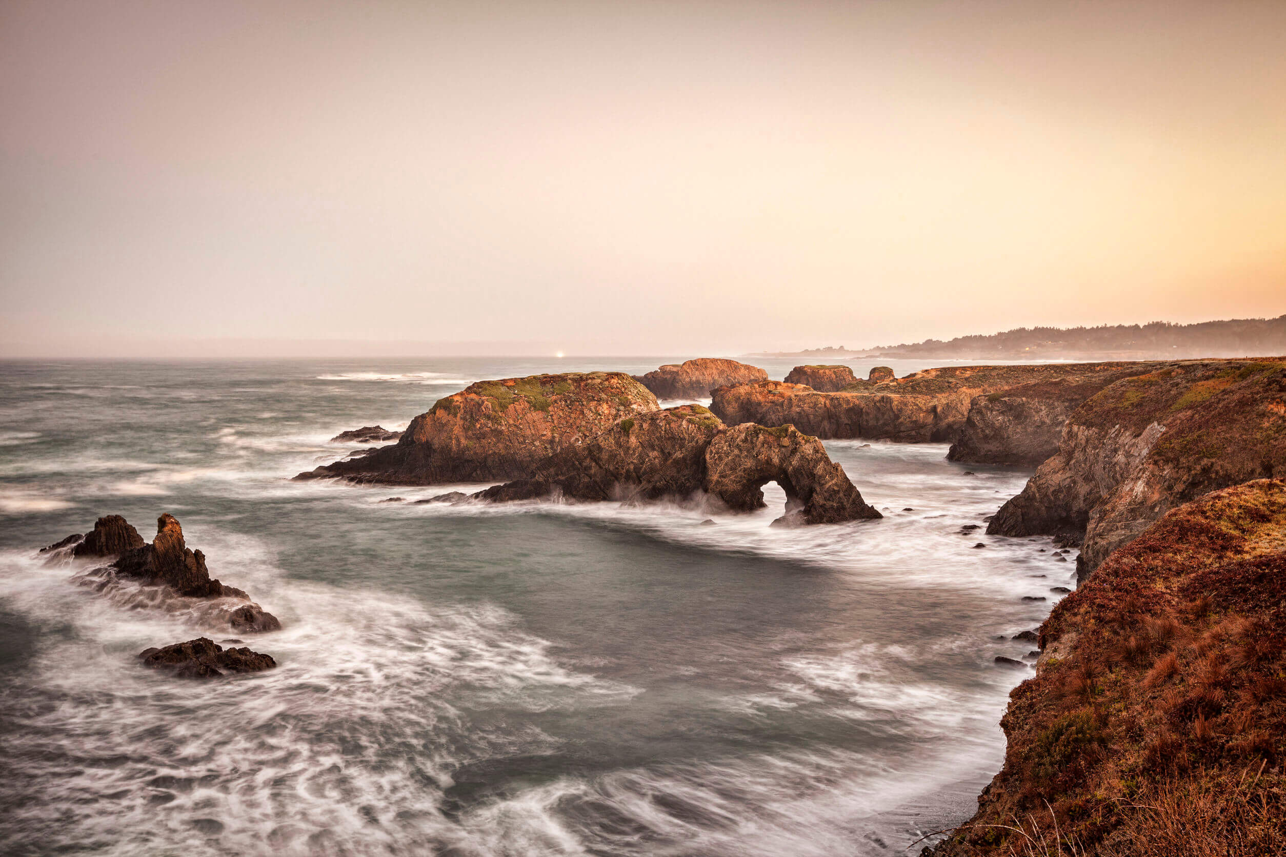 Mendocino Headlands, California at dawn, looking over the ocean.