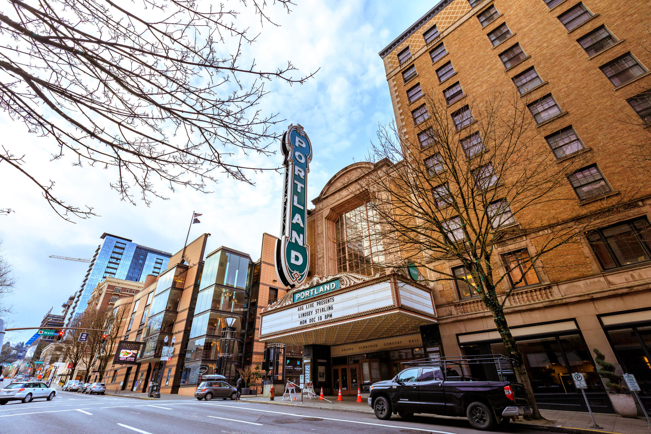 Portland, Oregon, United States - Dec 19, 2017: The iconic Portland sign of Arlene Schnitzer Concert Hall in downtown at winter season