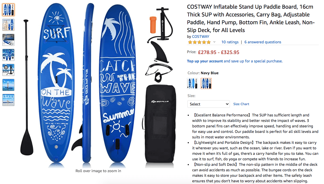 buy an inflatable paddle board