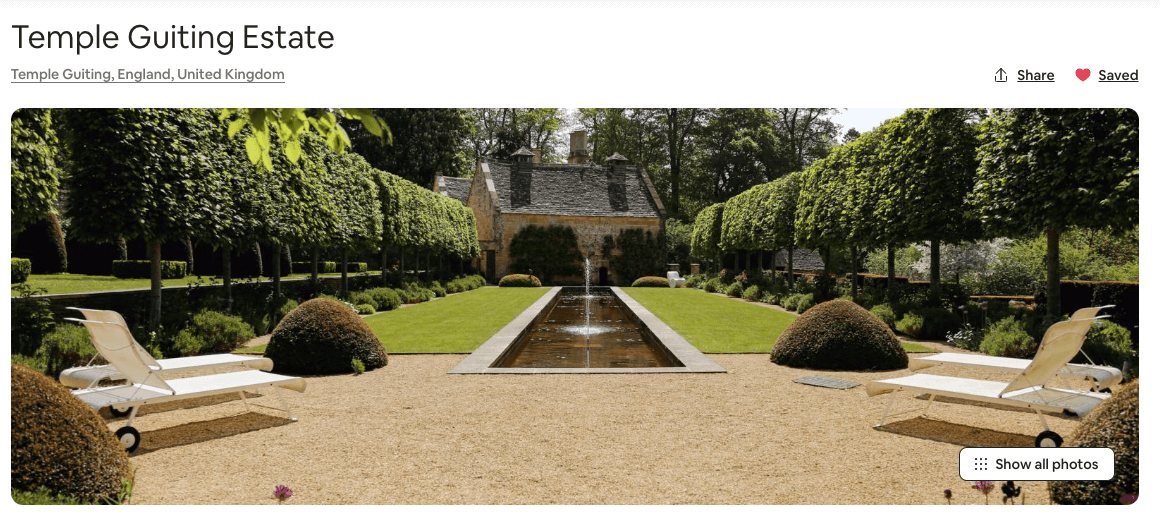 massive airbnb in england