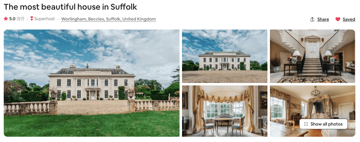 england's biggest airbnbs